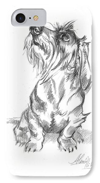 Young Wire-haired Dachshund Looking Up IPhone Case