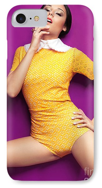 Young Woman In Bright Yellow Vintage Style Clothes Phone Case by Oleksiy Maksymenko