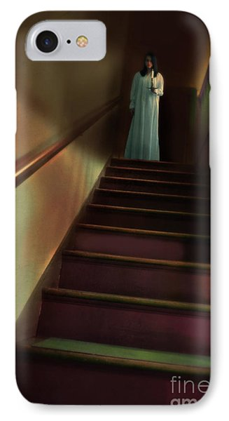 Young Woman In Nightgown On Stairs Phone Case by Jill Battaglia