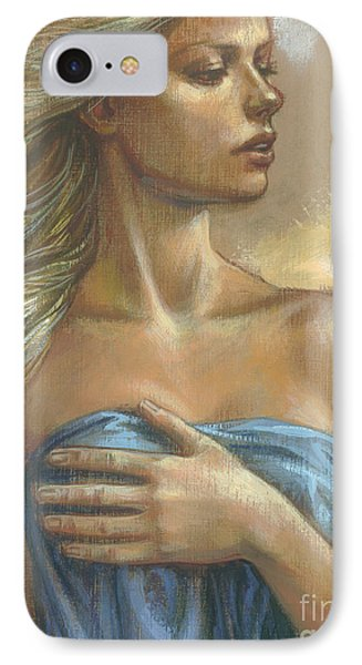 Young Woman With Blue Drape Crop Phone Case by Zorina Baldescu