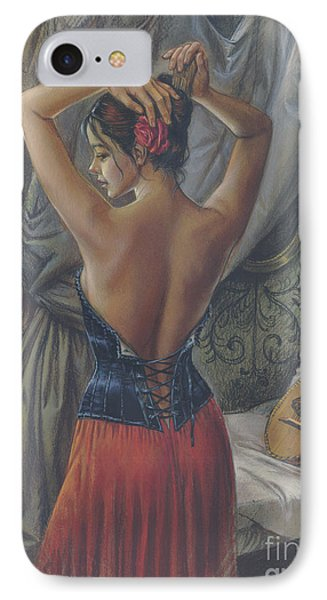 Young Woman With Luth Phone Case by Zorina Baldescu