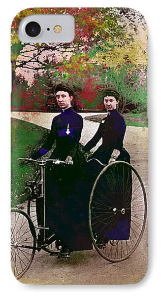 Young Women Biking IPhone Case by Charles Shoup