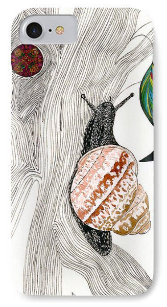 IPhone Case featuring the drawing Your Garden Snail by Dianne Levy