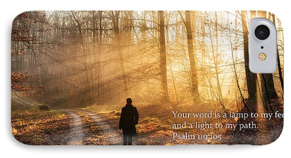 Your Word Is A Light To My Path Bible Verse Quote IPhone Case by Matthias Hauser
