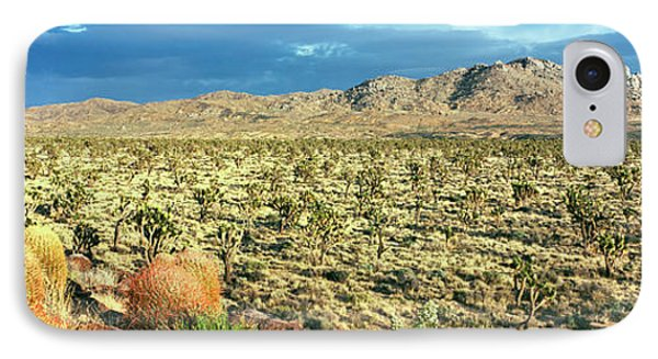 Yucca And Joshua Trees In A Desert IPhone Case by Panoramic Images