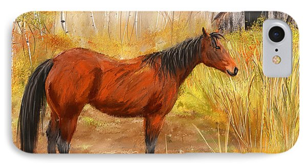 Yuma- Stunning Horse In Autumn IPhone Case by Lourry Legarde