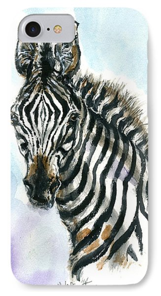 IPhone Case featuring the painting Zebra 1 by Mary Armstrong