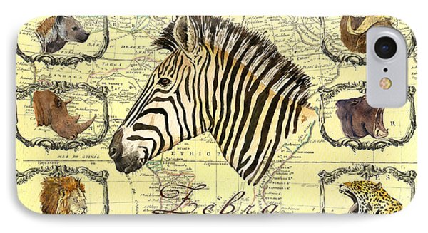 Zebra African Map Heads IPhone Case by Juan  Bosco