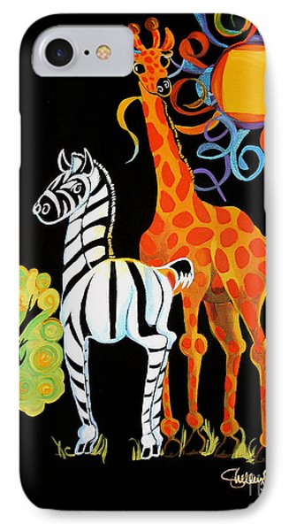 Zebra And The Giraffe IPhone Case by Shelley Overton