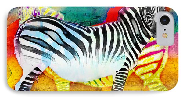 Zebra Colors Of Africa IPhone Case by Barbara Chichester