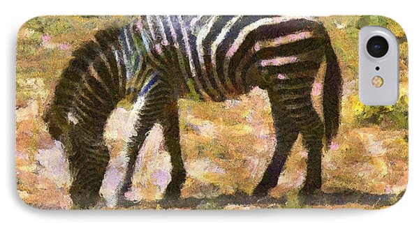 IPhone Case featuring the digital art Zebra In The Wild by Carrie OBrien Sibley