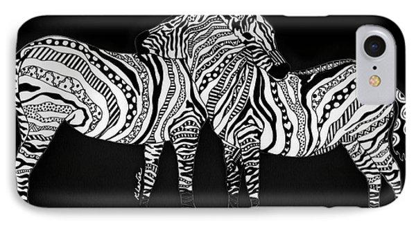 Zebra Love 1 Phone Case by Karen Larter