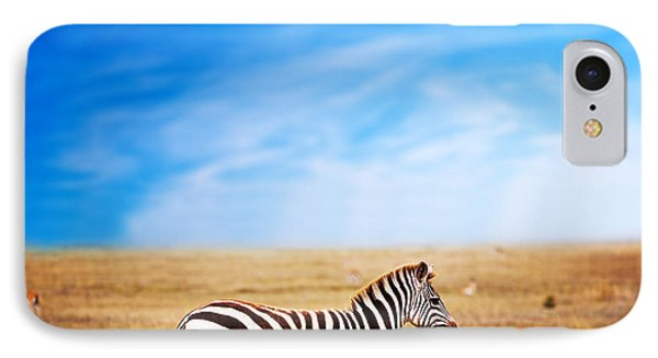Zebra On African Savanna. Phone Case by Michal Bednarek