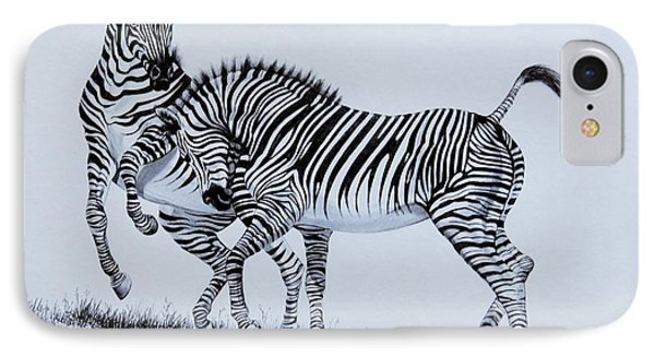 Zebra Play IPhone Case by Cheryl Poland