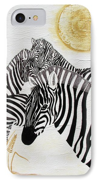 IPhone Case featuring the painting Zebra Quintet by Stephanie Grant