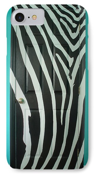Zebra Stripe Mural - Door Number 1 IPhone Case by Sean Connolly