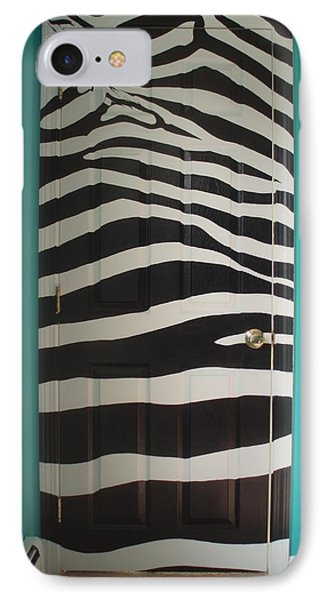 Zebra Stripe Mural - Door Number 2 IPhone Case by Sean Connolly