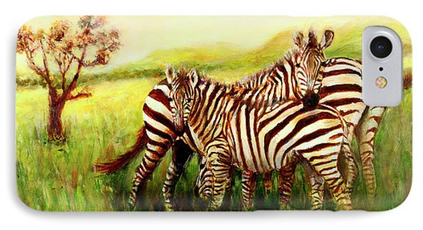 IPhone Case featuring the painting Zebras At Ngorongoro Crater by Sher Nasser