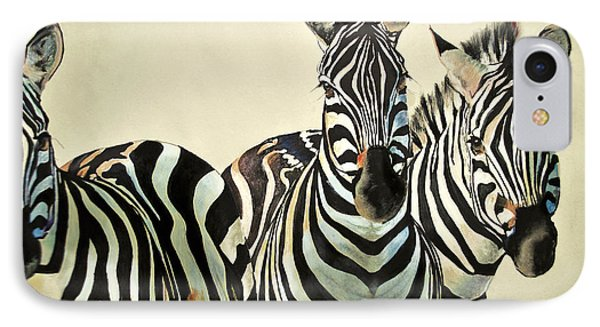 IPhone Case featuring the drawing Zebras Drawing by Maja Sokolowska