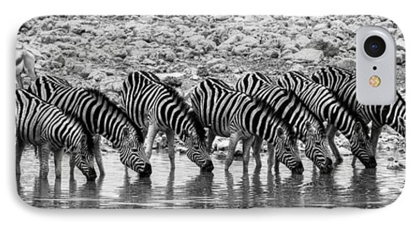 IPhone Case featuring the photograph Zebras On A Waterhole by Juergen Klust