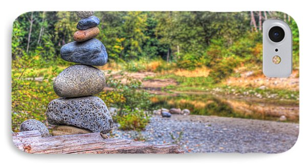 IPhone Case featuring the photograph Zen Balanced Stones On A Tree by Eti Reid