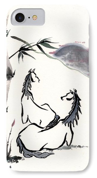 IPhone Case featuring the painting Zen Horses Evolution Of Consciousness by Bill Searle