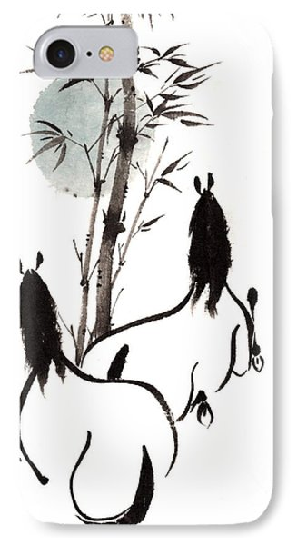 IPhone Case featuring the painting Zen Horses Moon Reverence by Bill Searle