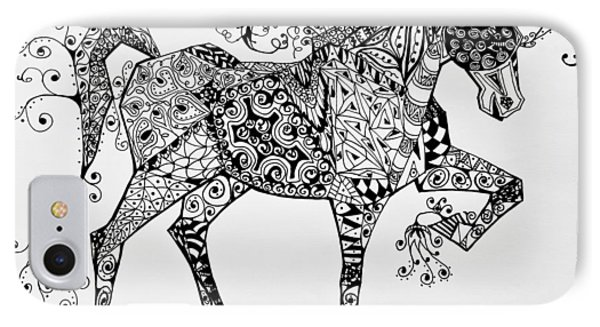 Zentangle Circus Horse Phone Case by Jani Freimann