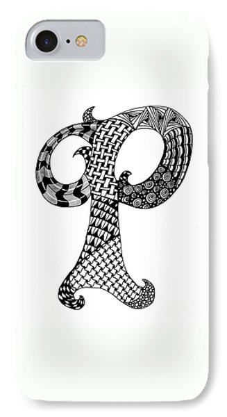 Letter P Monogram In Black And White IPhone Case by Nan Wright