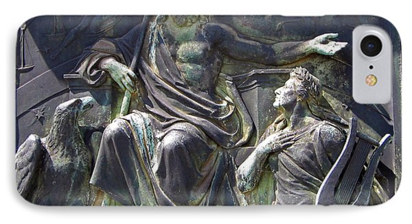 IPhone Case featuring the photograph Zeus Bronze Statue Dresden Opera House by Jordan Blackstone