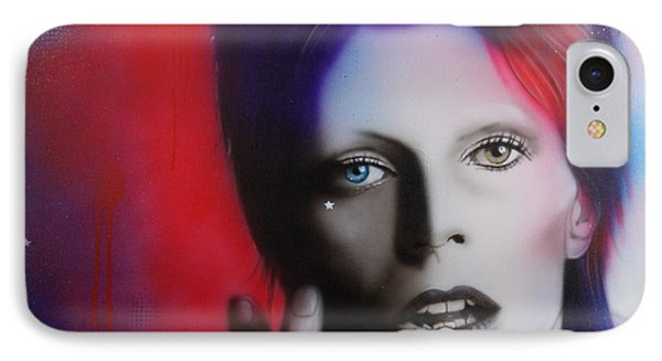 David Bowie - ' Ziggy Stardust ' IPhone Case by Christian Chapman