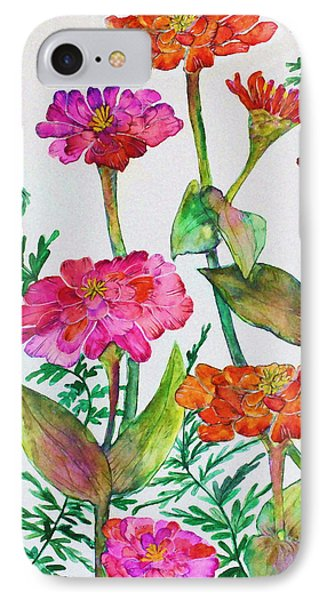 Zinnia And Ferns Phone Case by Janet Immordino