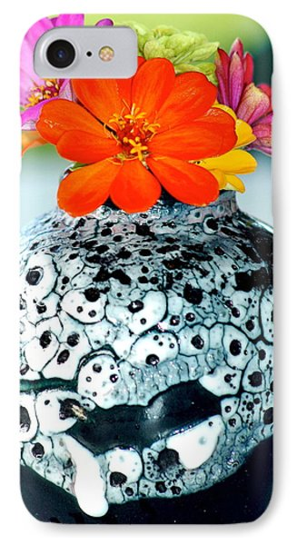 IPhone Case featuring the photograph Zinnia In Vase by Lehua Pekelo-Stearns