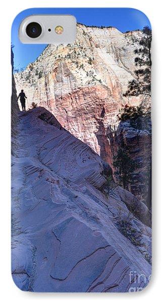 Zion National Park Hiker Climbs Hidden Canyon Trail Phone Case by Gary Whitton