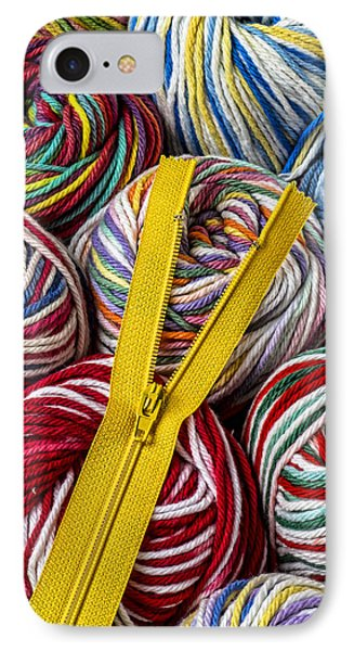 Zipper And Yarn IPhone Case by Garry Gay