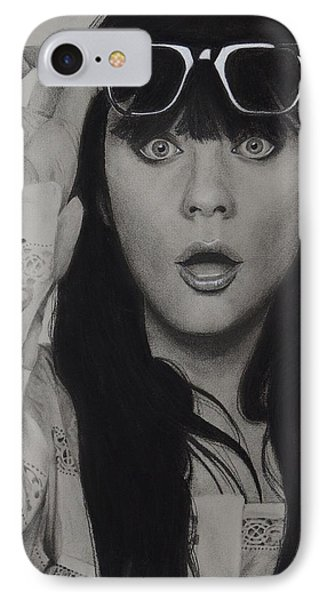 Zooey Deschanel Phone Case by Chrissy Eckman