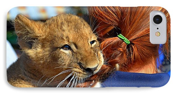 Zootography3 Zion The Lion Cub Likes Redheads Phone Case by Jeff at JSJ Photography