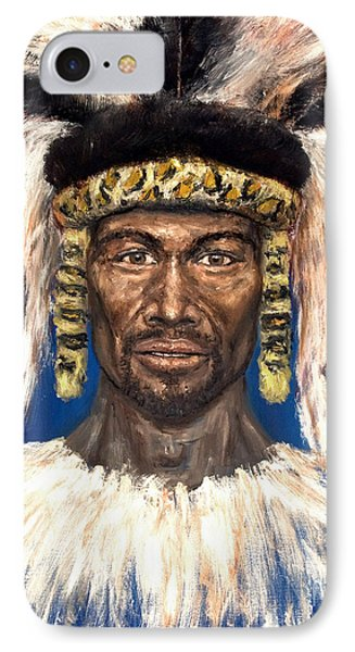 IPhone Case featuring the painting Zulu Warrior by Arturas Slapsys