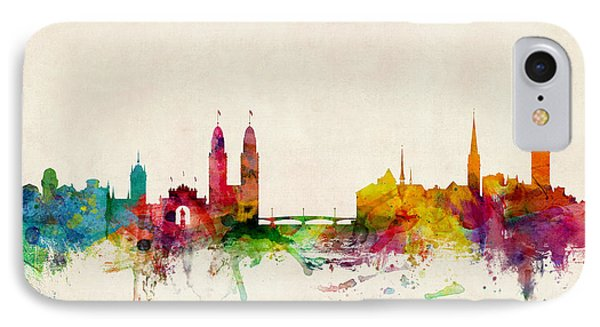 Zurich Switzerland Skyline IPhone Case by Michael Tompsett