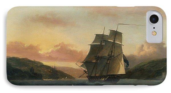 A Brigantine In Full Sail In Dartmouth Harbour IPhone Case