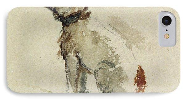 A Terrier - Sitting Facing Left Phone Case by Peter de Wint