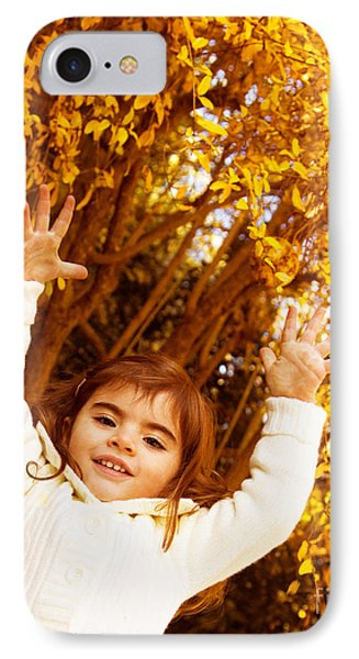 Baby Girl In Autumn Park Phone Case by Anna Om