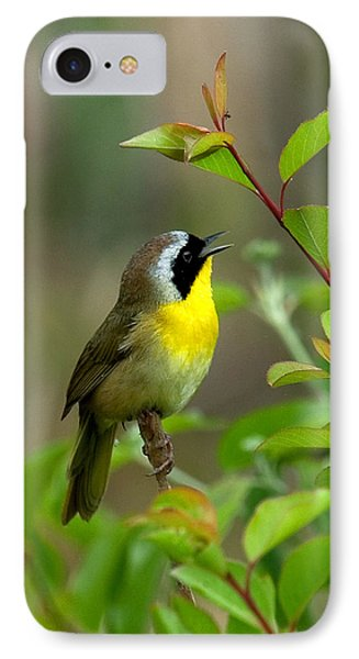 IPhone Case featuring the photograph  Common Yellowthroat Warbler Warbling Dsb006 by Gerry Gantt