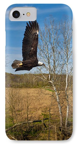 IPhone Case featuring the photograph  Eagle Circleing Her Nest by Randall Branham