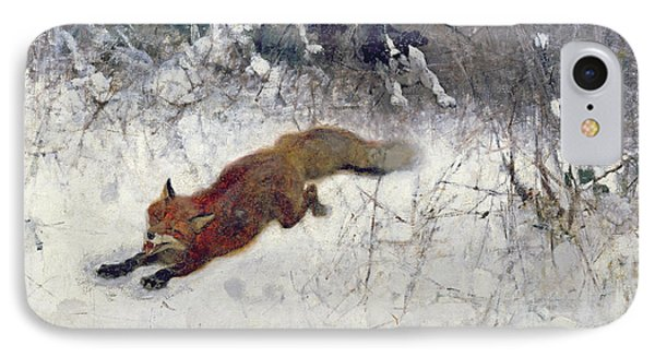 Fox Being Chased Through The Snow  IPhone Case by Bruno Andreas Liljefors