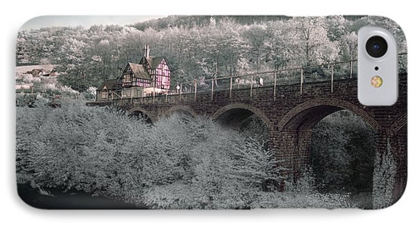 IPhone Case featuring the photograph  Infrared Train Station Bridge by Beverly Cash