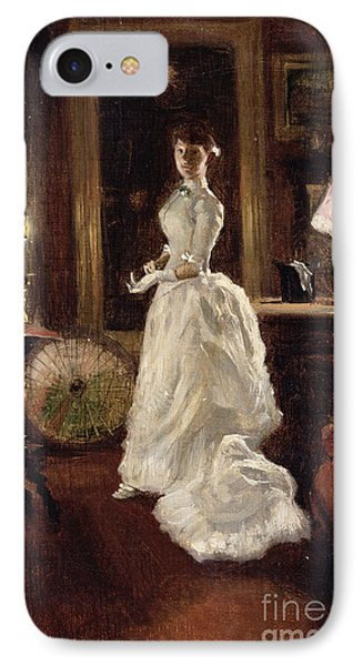 Interior Scene With A Lady In A White Evening Dress  IPhone Case by Paul Fischer