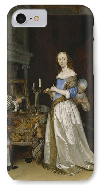 Lady At Her Toilette Phone Case by Gerard ter Borch