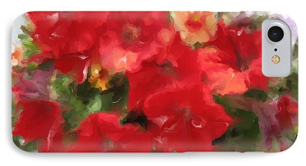 IPhone Case featuring the mixed media  Red Petunia by Hai Pham