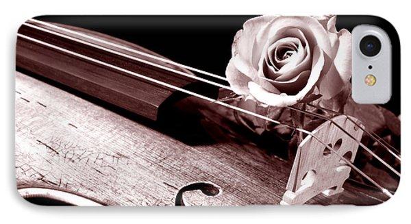 Rose Violin Viola IPhone Case by M K  Miller